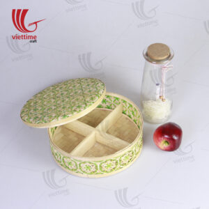 Green Coralpearl Woven Bamboo Candy Box