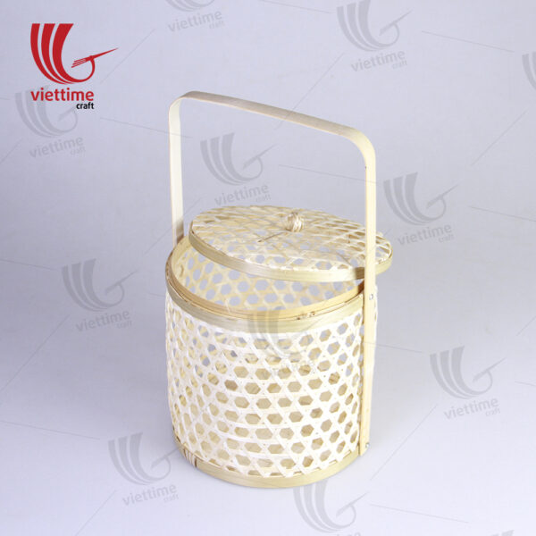 Natural Bamboo Storage Basket With Handle