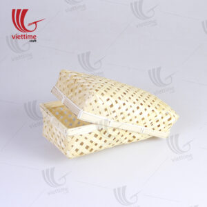 Woven Rectangular Lift Off Lid Bamboo Candy Box