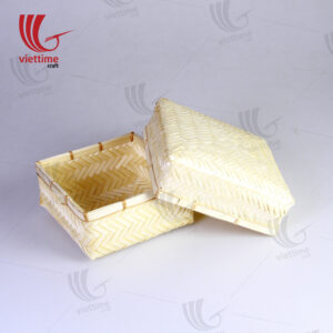 Woven Square Lift Off Lid Bamboo Box