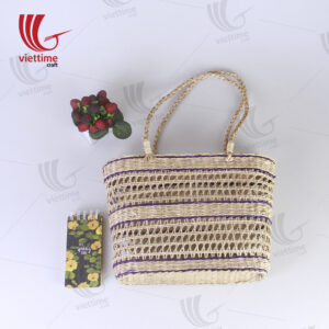 Purple Border Rectangle Seagrass Net Straw Bag