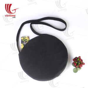Round Black Woollen Knitted Shoulder Bag