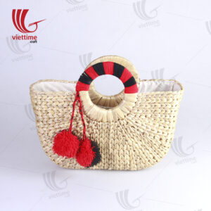 Water Hyacinth Tote Bag With Black-Red Handle