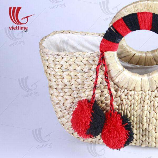 Water Hyacinth Tote Bag With Black-Red Handle