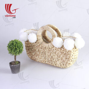 Water Hyacinth Tote Bag With 8 Pompoms