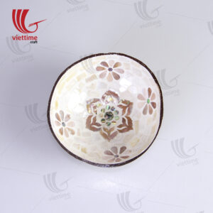 White Inlaid Mother Of Pearl Coconut Bowl