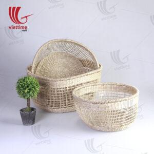 Handmade Woven Seagrass Baskets Set of 3