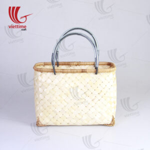 Simple Woven Pattern Bamboo Tote Handbags