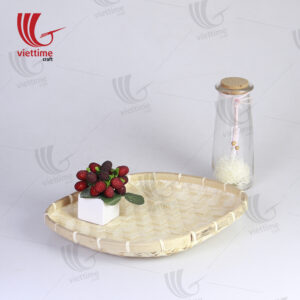 Woven Drink Holder Caddy Serving Bamboo Tray