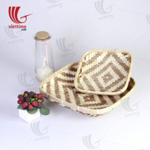Vintage Styled Bamboo Woven Tray Set Of 2