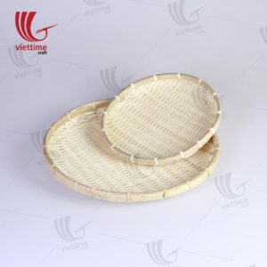 Natural Round Serving Bamboo Tray Set Of 2
