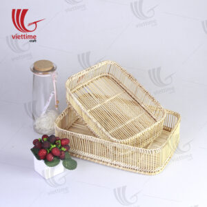 Woven Bamboo Breakfast Serving Tray Set Of 2