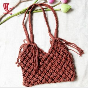 Vintage Macrame Shopping Tote Shoulder Bag