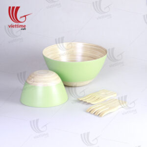 Green Lacquered Bamboo Bowl Set Of 2
