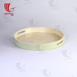 Green Lacquered Spun Bamboo Tray With Handle
