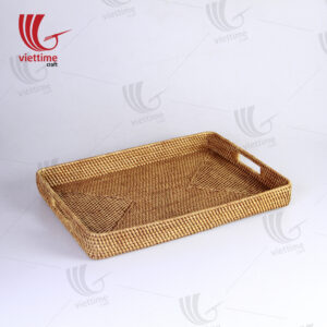 Brown Rectangular Rattan Tray With Handle