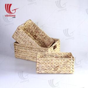 Traditional Water Hyacinth Basket Set Of 3