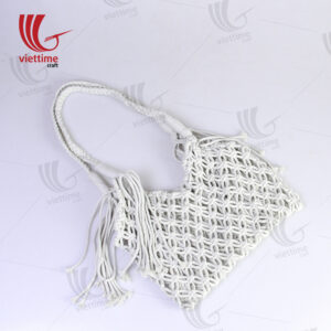Vintage White Macrame Shoulder Bag Wholesale