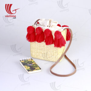 Water Hyacinth Cross Body Bag With 8 Pompoms