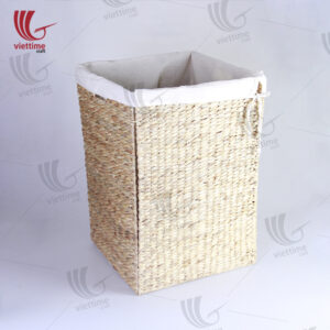 Rectangle Water Hyacinth Laundry With Fabric Inside
