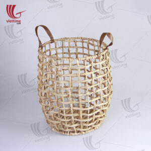 Water Hyacinth Laundry Basket With Leather Handle