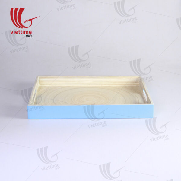 Blue Lacquered Spun Bamboo Tray With Handle