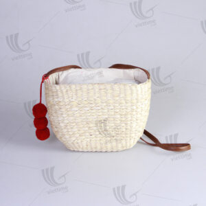 Water Hyacinth Shoulder Bag With 3 Pompoms