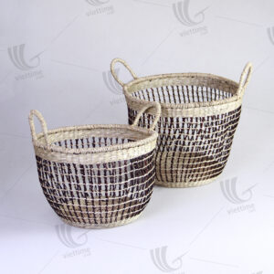 Seagrass Storage Baskets With Handle Set Of 2