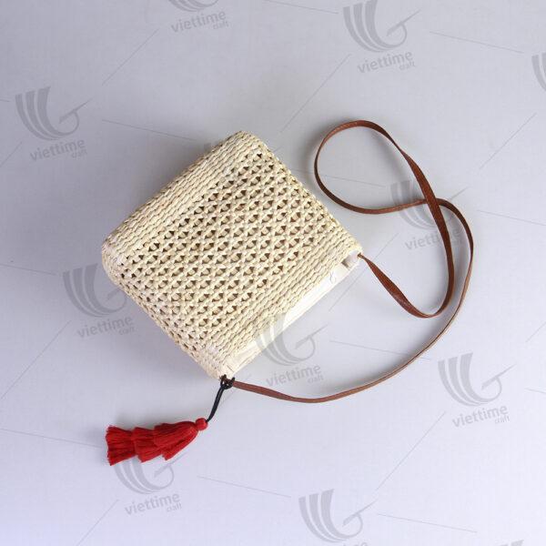 Simple Water Hyacinth CrossBody Bag With Tassel