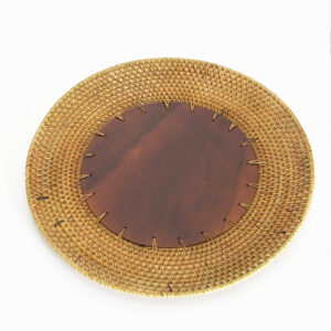 Wood and Rattan Charger Plate sku M00410