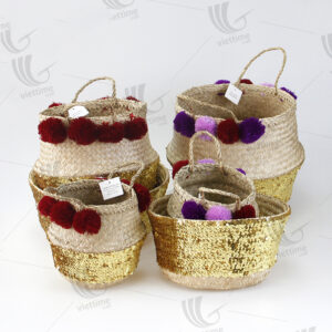Sequin Seagrass Belly Basket With Pompom