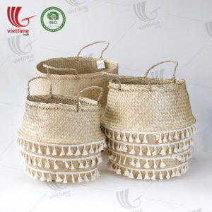 Small Tassel Seagrass Belly Basket Wholesale