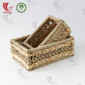 Water Hyacinth Tray Basket With Seagrass
