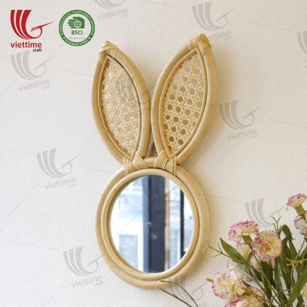 Rabbit Shaped Rattan Mirror Wholesale