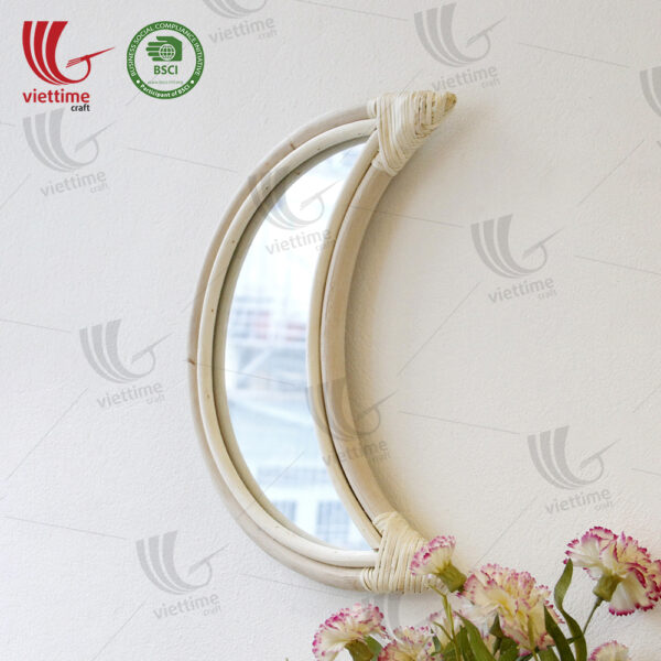 Moon Shaped Rattan Mirror Wholesale