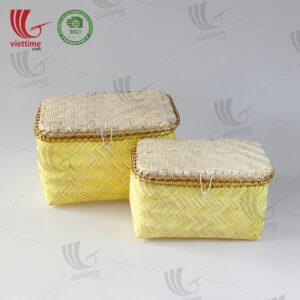 Yellow Woven Bamboo Storage Box Set 2