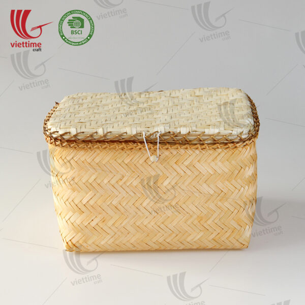 Orange Woven Bamboo Storage Box Set 2