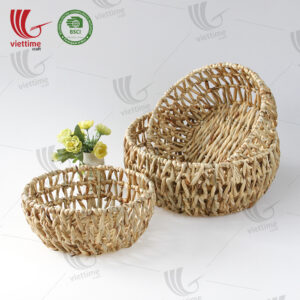 Round Shaped Water Hyacinth Basket SET 3