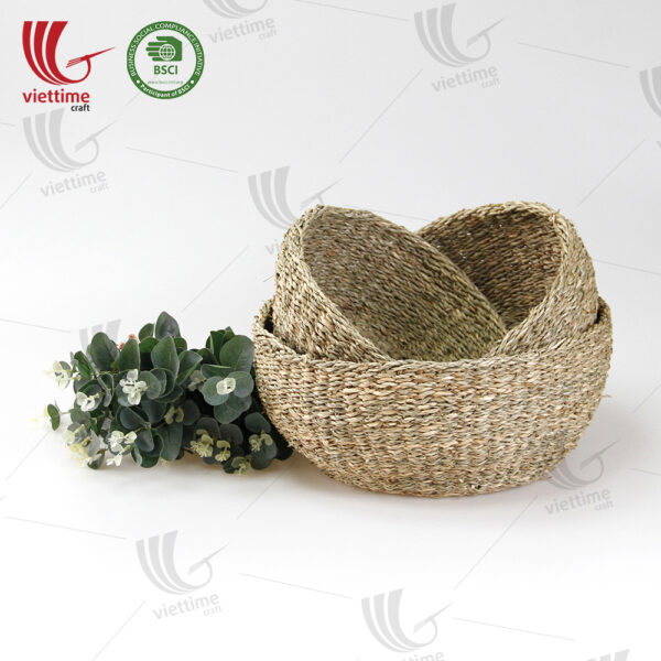 Bowl Shaped Seagrass Storage Basket SET 3