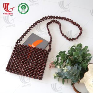 Natural Brown Wooden Bead Bag Wholesale