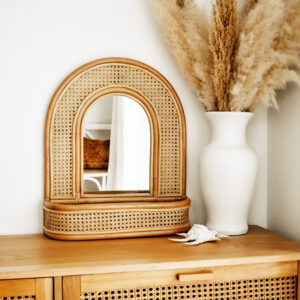Rattan Mirror With Rack sku M00275